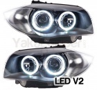 Phares avant BMW Serie 1 E81 E87 Angel Eyes LED V2 DEPO 04 et + - Noir