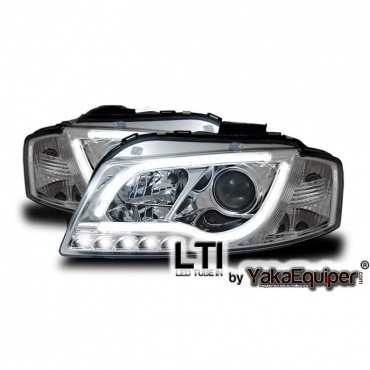 2 phares avant audi a3 8p lti chrome yakaequiper. Black Bedroom Furniture Sets. Home Design Ideas