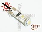 Ampoule T10 LED 3D<sup>3</sup> SMD- Anti Erreur OBD - Culot W5W - Blanc Pur